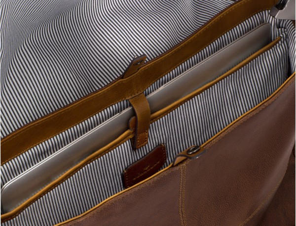 Cartella messenger in pelle vintage marrone laptop