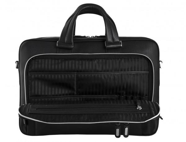maletin ejecutivo de cuero en color negro interior bolsillos