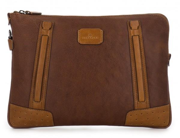 leather portfolio vintage brown front
