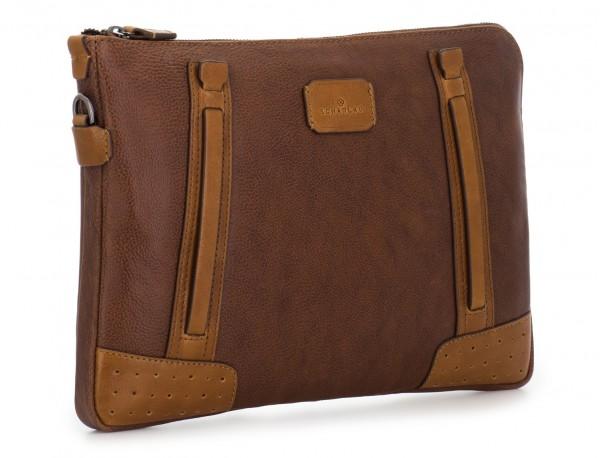 portadocumentos de piel vintage marrón lado