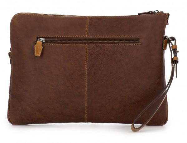 portadocumentos de piel vintage marrón detrás