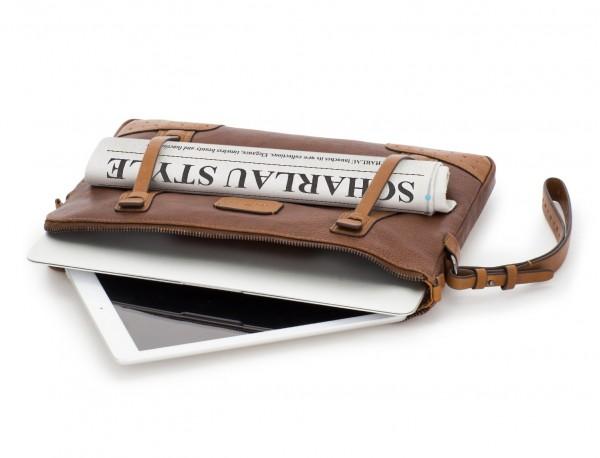 portadocumentos de piel vintage marrón tablet