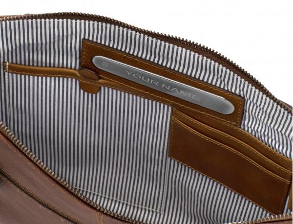 portadocumentos de piel vintage marrón  personalizada