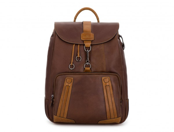 mochila de piel vintage marrón frontal