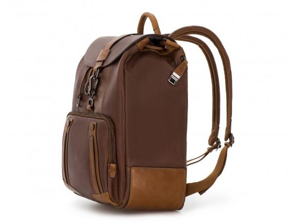 mochila de piel vintage marrón  lado