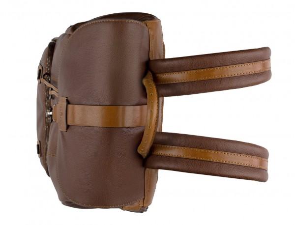 mochila de piel vintage marrón arriba