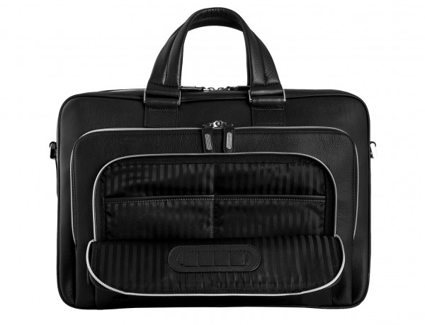 maletin ejecutivo de cuero en color negro detalle bolsillo