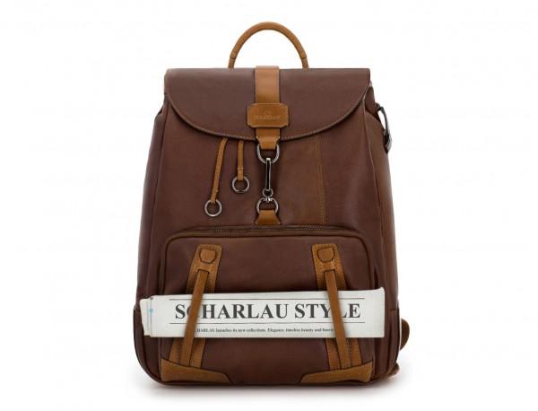mochila de piel vintage marrón  detalle