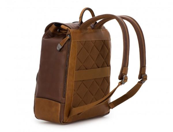 mochila de piel vintage marrón back