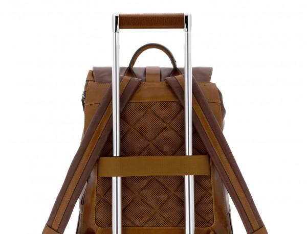 Zaino in pelle vintage marrone trolley