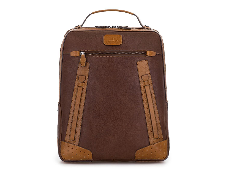 mochila vintage de piel para portátil marrón frontal