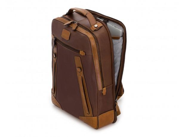 mochila vintage de piel para portátil marrón lado