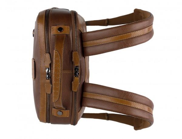 mochila vintage de piel para portátil marrón asas