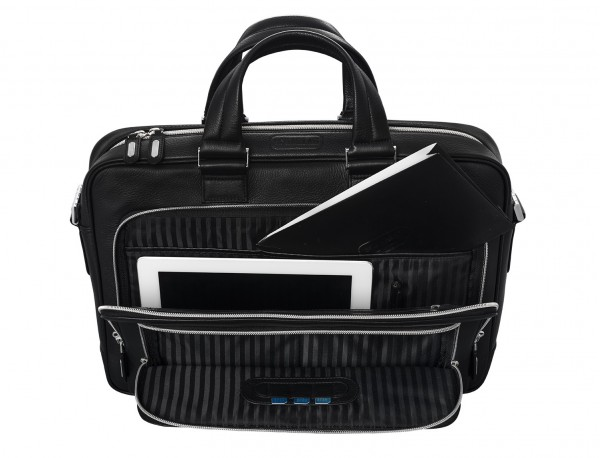 leather business bag in black open