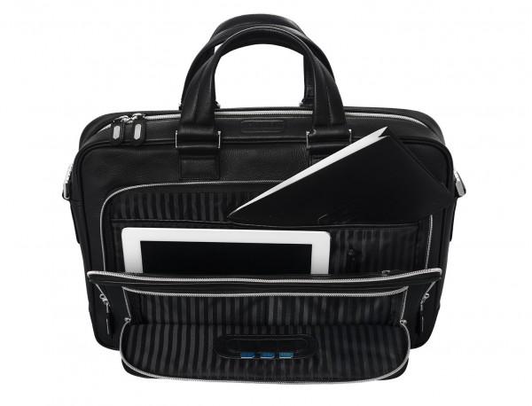 maletin ejecutivo de cuero en color negro interior