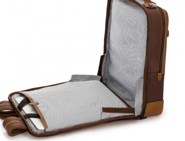 mochila vintage de piel para portátil marrón abierta