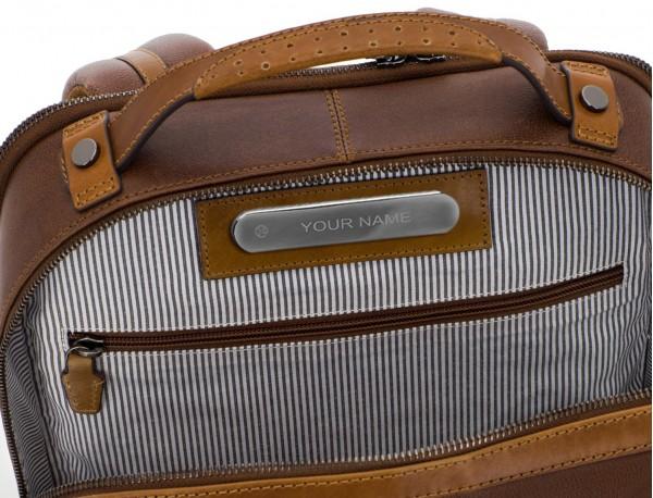 mochila vintage de piel para portátil marrón personalizada