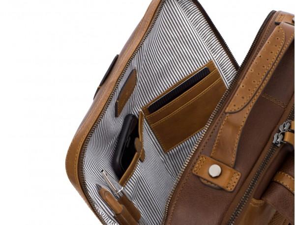 mochila vintage de piel para portátil marrón funcional