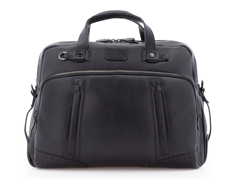 leather vintage briefbag black front