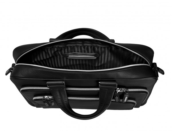 leather business bag in black metal plate