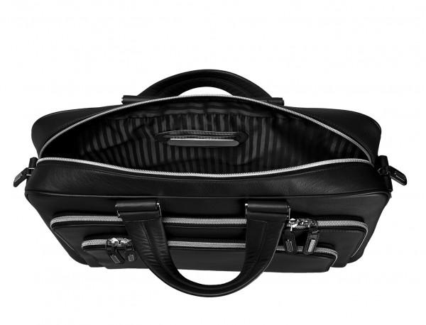 maletin ejecutivo de cuero en color negro placa personalizada