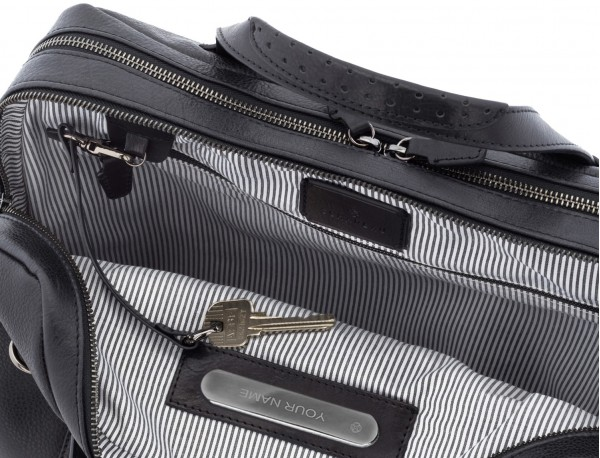 leather vintage briefbag black personalized