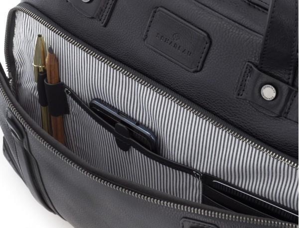 leather vintage briefbag black logo