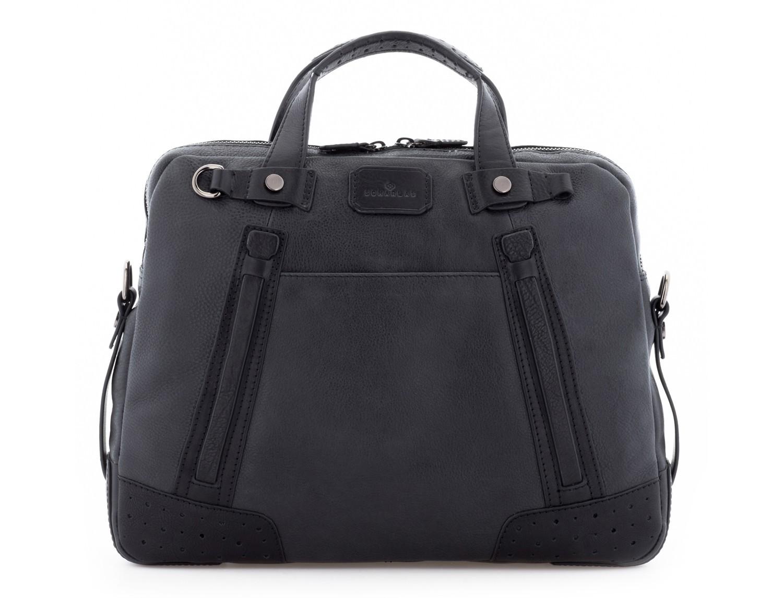 leather vintage laptop bag black front