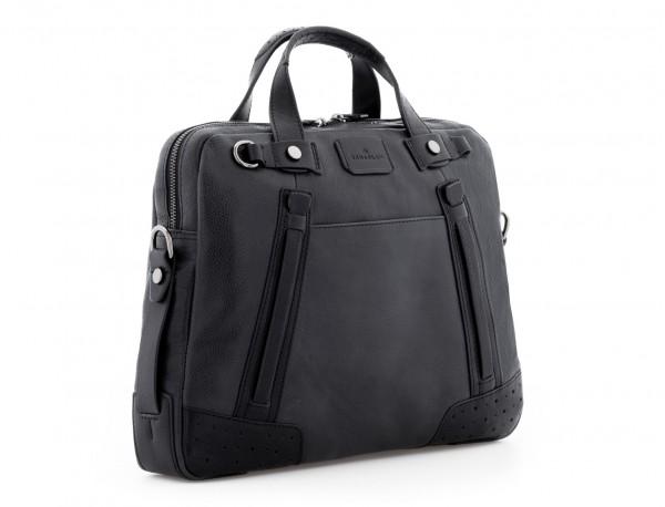leather vintage laptop bag black  side