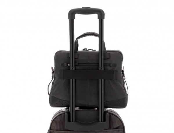 leather vintage laptop bag black  trolley
