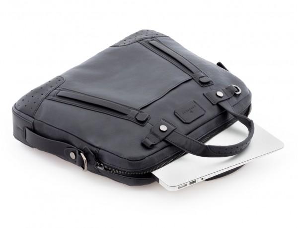 portadocumentos de cuero vintage negro portátil