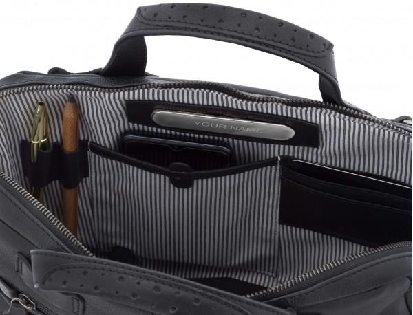 leather vintage laptop bag black  inside