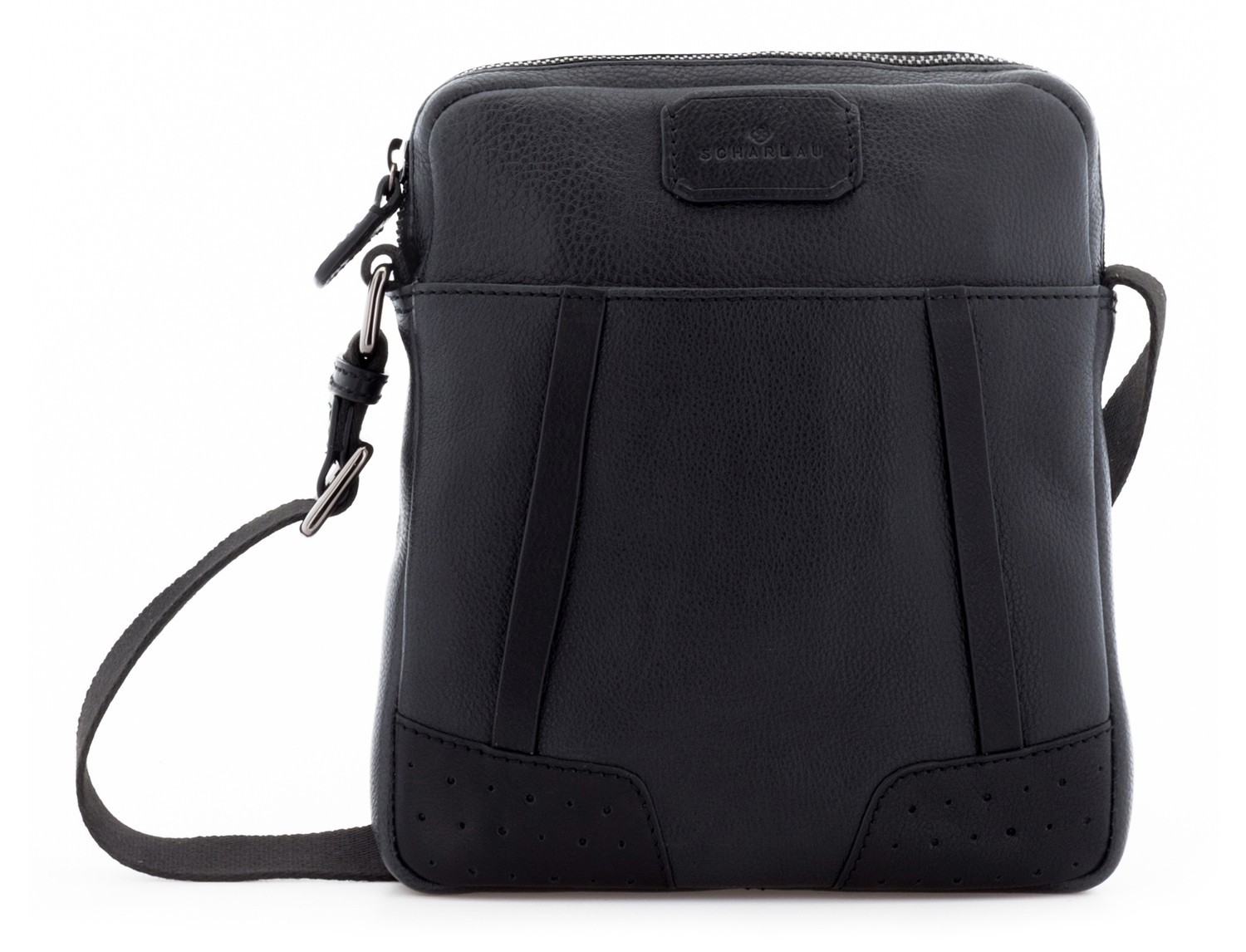 Leather cross body bag black front