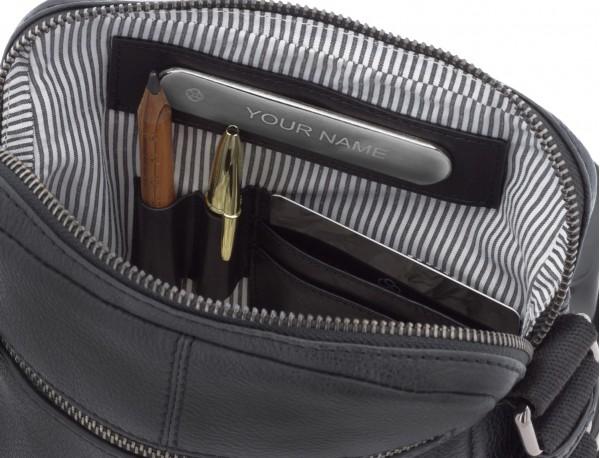 bolso bandolera de hombre en cuero negro  personalizado