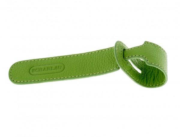 identificador de maletas en cuero color verde frontal