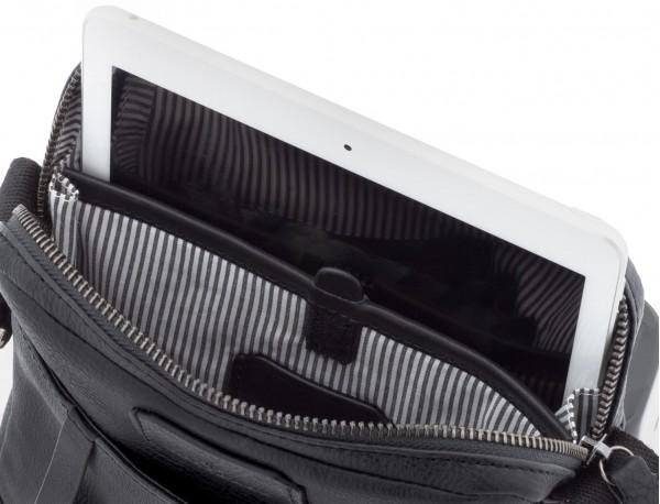 bolso bandolera de hombre en cuero negro tablet