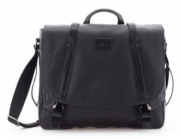 leather messenger bag vintage black front