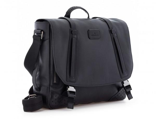bolso mensajero de cuero vintage negro lado