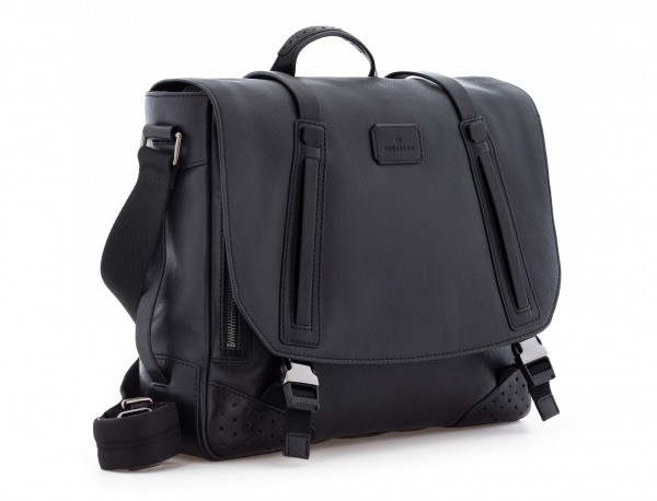 leather messenger bag vintage black  side