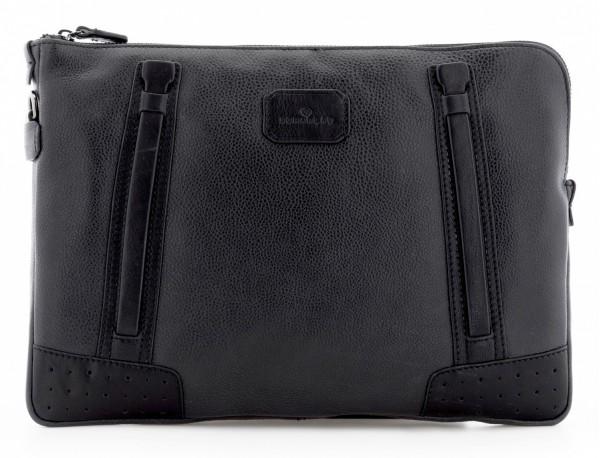 leather portfolio vintage black front