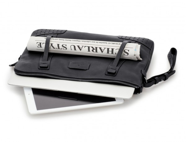 Portadocumenti in pelle vintage nero laptop