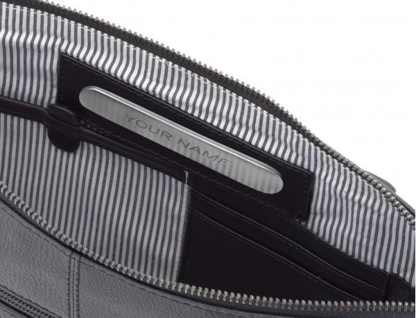 portadocumentos de piel vintage negro personalizado