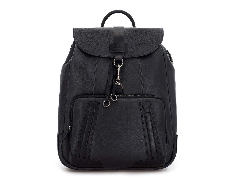 mochila de piel vintage negra frontal