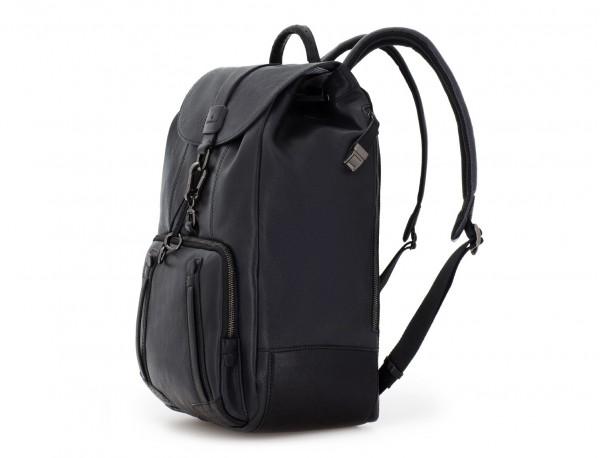 mochila de piel vintage negra lado
