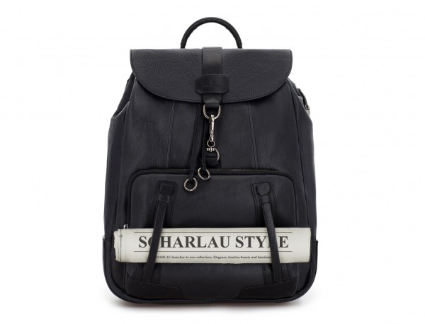mochila de piel vintage negra  detalle
