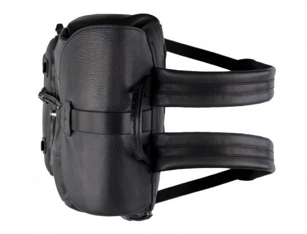 mochila de piel vintage negra arriba