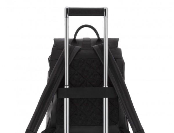 mochila de piel vintage negra trolley