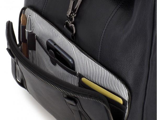 mochila de piel vintage negra interior