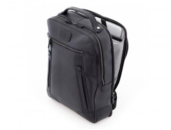 mochila vintage de piel para portátil negra lado