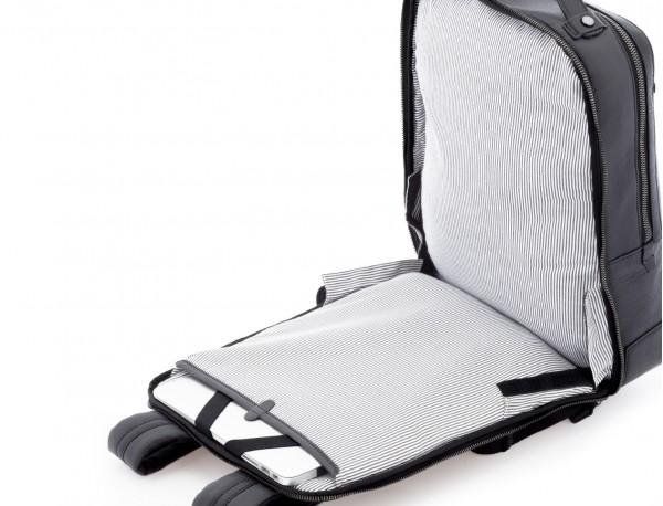 leather vintage backpack black open